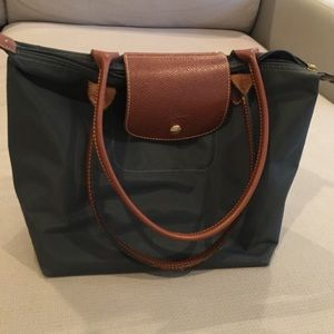Long champ bag small in gray